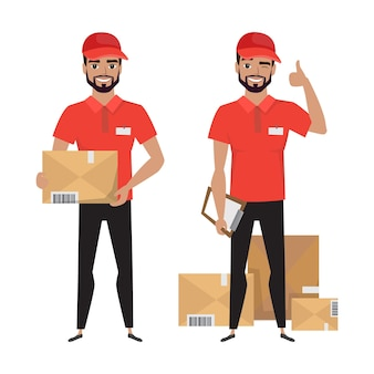 Illustration des kuriers mit einem paket