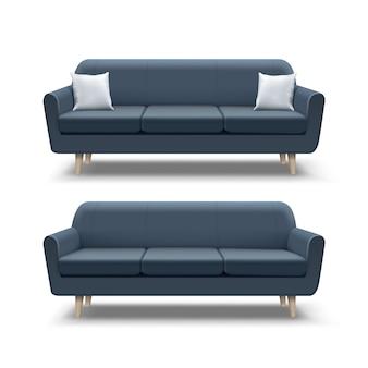 Illustration des leeren dunkelblauen sofas und mit quadratischen kissen auf weißem hintergrund