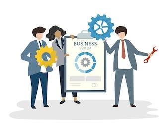 Illustration des Leutevatara-Geschäftsteamwork-Konzeptes