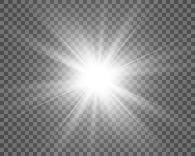 Illustration des lichts eines sterns für ein schönes bild auf einem transparenten hintergrund, mit blendung und schönem glanz
