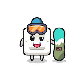 Illustration des lichtschaltercharakters mit snowboard-stil, süßes design für t-shirt, aufkleber, logo-element
