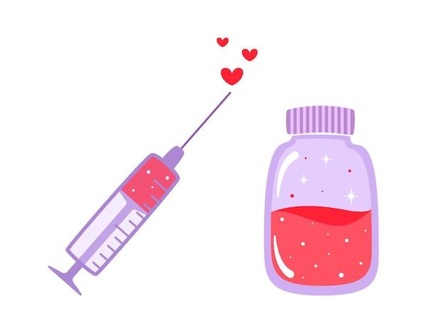 Illustration des liebesimpfstoffs für valentinstag im karikaturstil isoliert. impfsymbol während einer epidemie ..