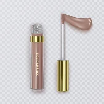 Illustration des lippenstiftabstrichs, der weiblichen lippenstiftcremeverpackung der kosmetik und des flüssigen abstrichs für make-up, realistisch