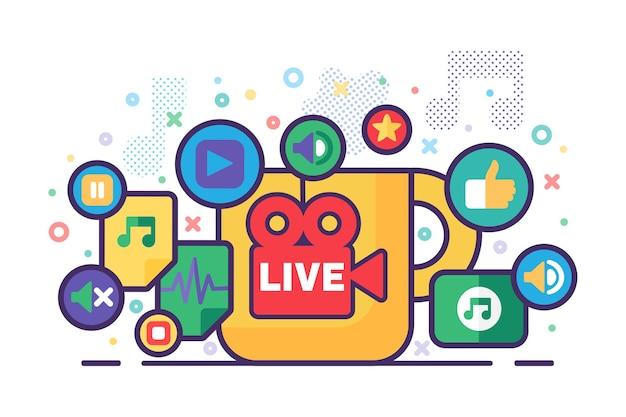 Illustration des live-stream-produktionskonzepts. nachrichten halbflache abzeichen. modernes cover-design für soziale medien. materialien für die online-übertragung. vektor isolierte farbzeichnung