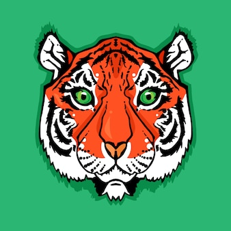 Illustration des lokalisierten tigerkopfes in der weinleseart für gewebe, druck und tätowierung
