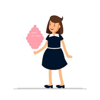 Illustration des mädchens, das glücklich fühlt und süße zuckerwatte isst. kindheitszeit.