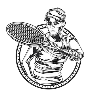 Illustration des mädchens, das tennis spielt