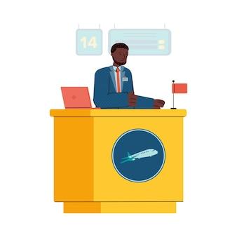 Illustration des mannes, der am flughafenregistrierungsschalter arbeitet