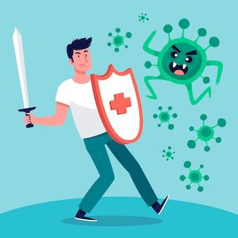 Illustration des mannes, der das virus kämpft