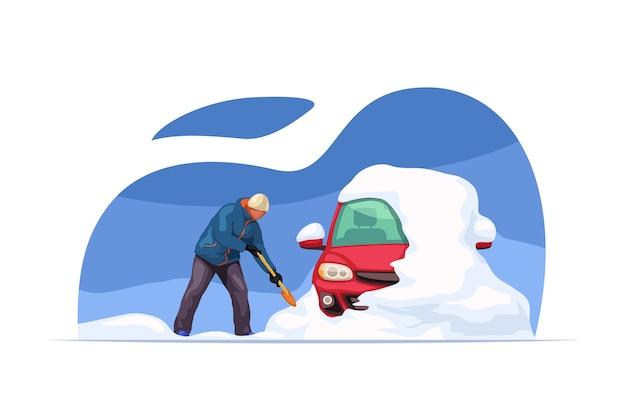 Illustration des mannes, der schnee von seinem auto unter verwendung des einfachen stils der schaufel reinigt