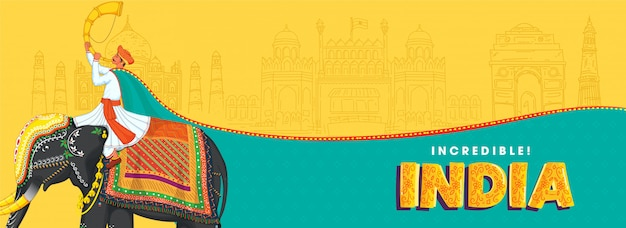 Illustration des mannes, der tutari spielt, sitzen am elefanten mit dem skizzieren berühmter denkmäler auf gelbem und türkisfarbenem hintergrund für unglaubliches indien.