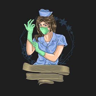 Illustration des medizinischen offiziers
