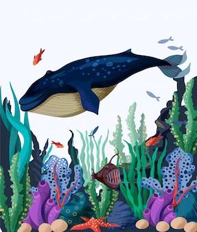 Illustration des meeresbodens mit walen, fischen und meerespflanzen.