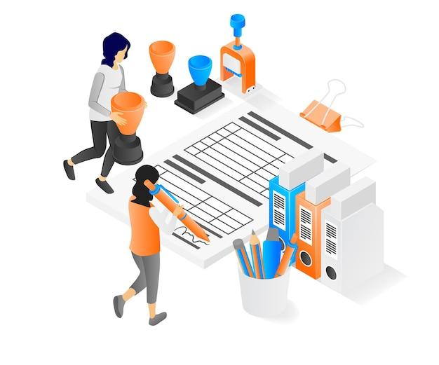 Illustration des modernen isometrischen stils über beschäftigt im büro