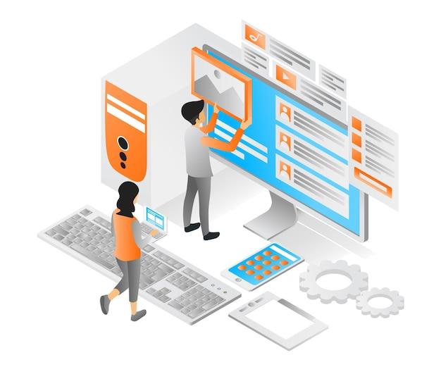Illustration des modernen isometrischen stils über ui-design und app-computer