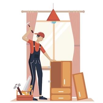 Illustration des möbelmontagekonzepts. fertigungsarbeiter mit professionellen werkzeugen. hilfe vom möbelhausprofi. flache karikaturillustration