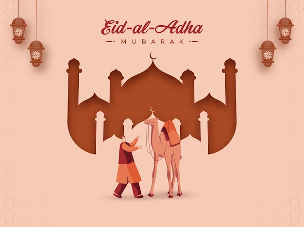 Illustration des muslimischen mannes, der mit kameltier, laternen hängt
