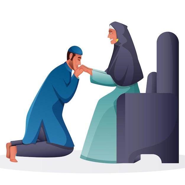Illustration des muslimischen mannes, der seine mutterhand am sofa küsst