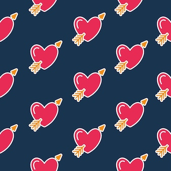 Illustration des nahtlosen musters des herzsymbols mit dem pfeil des amors
