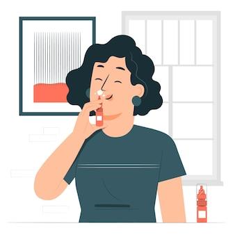 Illustration des nasenspray-konzepts