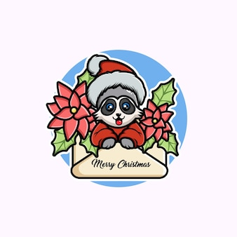 Illustration des netten karikaturweihnachtswaschbären in einer grußkarte