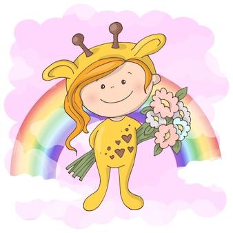 Illustration des netten mädchens mit regenbogen. cartoon-stil