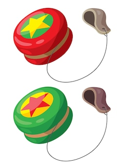 Illustration des netten roten und grünen yoyo der karikatur