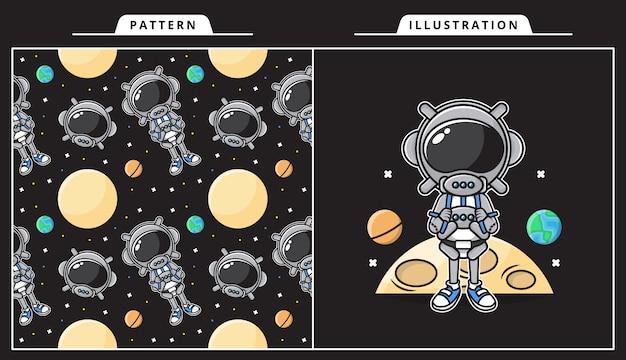 Illustration des niedlichen astronauten im raumkonzept mit muster.