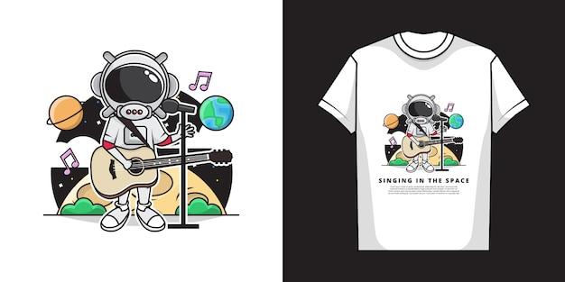 Illustration des niedlichen astronautenjungen, der mit dem spielen der gitarre im raum singt. und t-shirt design.