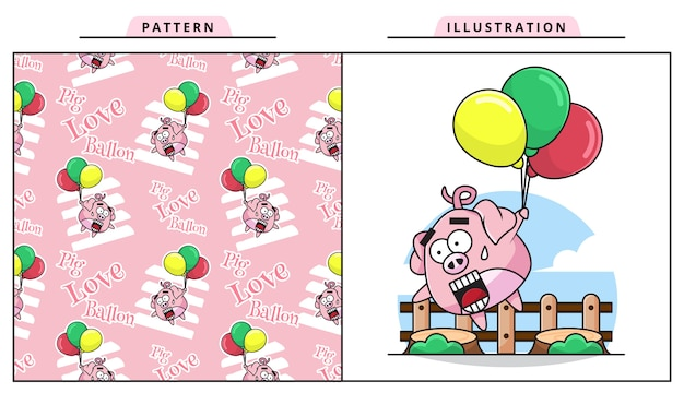 Illustration des niedlichen baby-schweins, das überrascht ist, zu fliegen, weil es einen ballon mit dekorativem nahtlosem muster hält