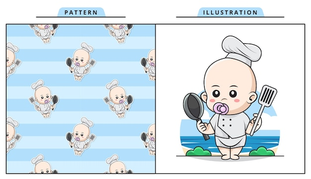 Illustration des niedlichen baby tragenden kochkostüms, bringen sie einen spatel und eine bratpfanne mit dekorativem nahtlosem muster