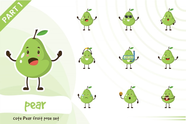 Illustration des niedlichen birnenfruchtsatzes