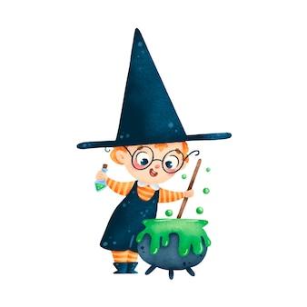 Illustration des niedlichen cartoon-halloween-zauberer-junge-tranks im kessel isoliert auf weißem hintergrund