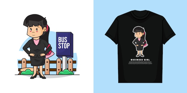 Illustration des niedlichen geschäftsmädchens wartet auf den bus mit t-shirt design