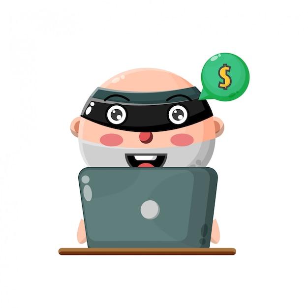 Illustration des niedlichen jungencharakters, der in virtuelles geld bricht