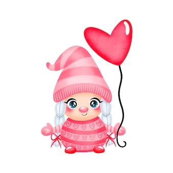 Illustration des niedlichen karikatur-valentinstag-gnom-mädchens in der liebe isoliert
