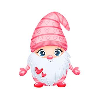 Illustration des niedlichen karikatur-valentinstag-gnoms in der liebe isoliert