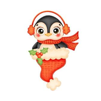 Illustration des niedlichen karikaturweihnachtspinguins, der roten schal im roten weihnachtsmannhut trägt