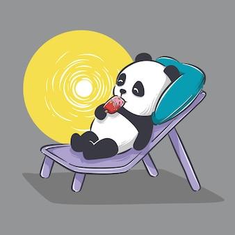 Illustration des niedlichen kleinen pandas, der eiscreme und entspannenden cartoon isst