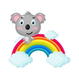 Illustration des niedlichen koalas, der auf einem regenbogen gleitet
