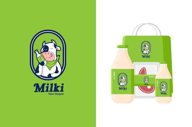 Illustration des niedlichen kuhmaskottchenlogos für milchprodukte oder rindfleisch