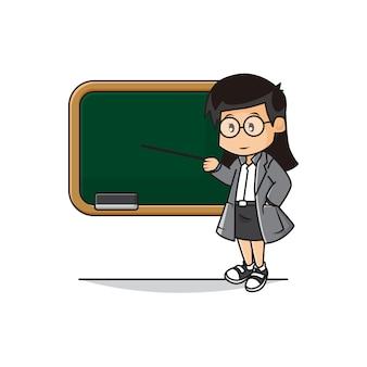 Illustration des niedlichen lehrers unterrichtet im klassenzimmer