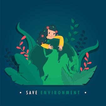 Illustration des niedlichen mädchens, das erdkugel mit papierschnittblättern auf blauem hintergrund für save environment concept umarmt.