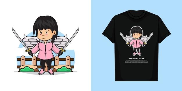 Illustration des niedlichen mädchens, das zwei schwerter in beiden händen mit t-shirt design hält