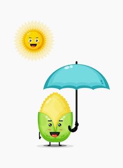 Illustration des niedlichen maischarakters, der dem sonnenlicht ausgesetzt ist