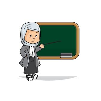 Illustration des niedlichen muslimischen lehrers unterrichtet im klassenzimmer