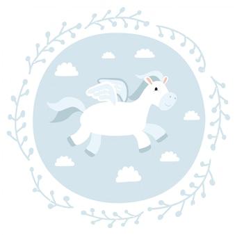 Illustration des niedlichen pegasus auf blauem hintergrund.