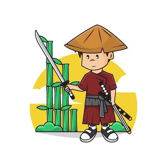 Illustration des niedlichen samurai-jungen, der katana-schwert hält.