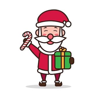 Illustration des niedlichen weihnachtsmann- und geschenkmaskottchencharakters