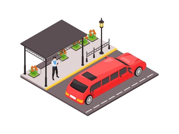 Illustration des öffentlichen verkehrs mit mann, der an schöner sauberer bushaltestelle und rotem luxuriösem auto 3d steht